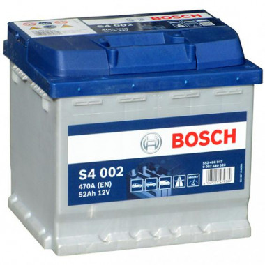 Аккумуляторная батарея BOSCH 0092S40020 BOSCH S4 Silver 52 R 470A 207X175X190