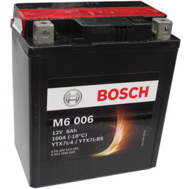 Аккумуляторная батарея BOSCH 0092M60060 для мототехники BOSCH MOBA AGM M6 12V 6AH 50A (YTX7L-4/YTX7L-BS) 114x71x131mm 2.8kg