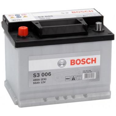 Аккумуляторная батарея BOSCH 0092S30060 BOSCH S3 12V 56AH 480A ETN 1(L+) B13 242x175x190mm 13.7kg