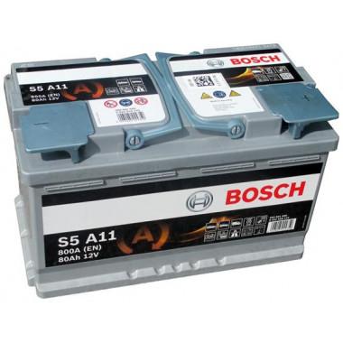 Аккумуляторная батарея BOSCH 0092S5A110 80Ah BOSCH S5 AGM 12V 80AH 800A ETN 0(R+) B13 315x175x190mm 22.76kg