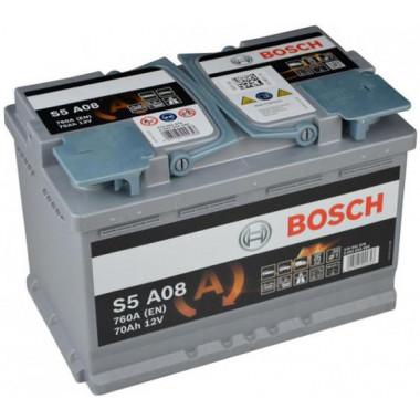 Аккумуляторная батарея BOSCH 0092S5A080 70Ah BOSCH S5 AGM 12V 70AH 760A ETN 0(R+) B13 278x175x190mm 20.09kg