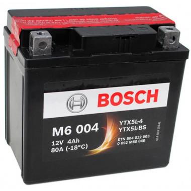 Аккумуляторная батарея BOSCH 0092M60040 для мототехники BOSCH MOBA AGM M6 12V 4AH 30A (YTX5L-4/YTX5L-BS) 114x71x106mm 2.1kg
