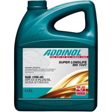Масло моторное ADDINOL Super Longlife MD1047 10W40 полусинтетика ( 5L) для грузовиков API CI-4 plus /CI-4/CF-4/CF/SL
