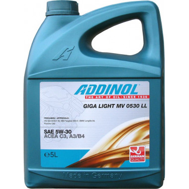 Масло моторное ADDINOL MV0530 LL GigaLight 5W30 синтетика ( 5L) API SN